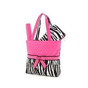 Zebra Print Diaper Bag 3 Piece Set Black / White Fuchsia