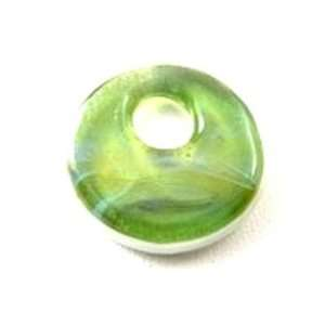 Green/White Boro Glass Disc Shaped Bead Arts, Crafts & Sewing