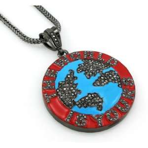 Hip Hop Bling Hematite Black The World Is Yours Pendant