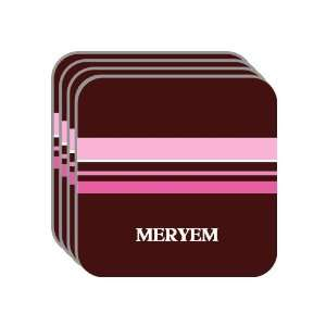 Personal Name Gift   MERYEM Set of 4 Mini Mousepad Coasters (pink