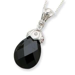 Sterling Silver Black CZ Tear Drop Necklace Jewelry