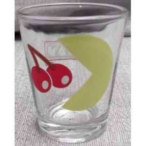PAC MAN Eating Cherry and PAC MAN Logo 1.5 oz SHOT GLASS