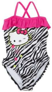 Hello Kitty Girls 4 6x 1 Piece Cross Back Swimsuit With