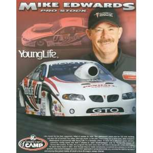 2007 Mike Edwards Young Life NHRA drag racing postcard