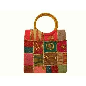 Handbag Baby Bag Tote Handmade Bead Work Pink Green Red Laptop Case