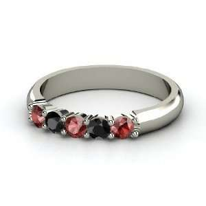 Quintessence Ring, 14K White Gold Ring with Red Garnet & Black Diamond