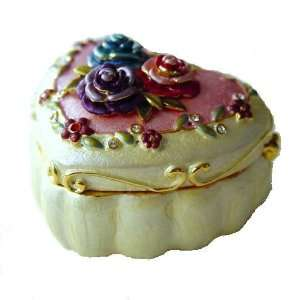 3D Flowers Heart Box Swarovski Crystals 24K Gold Jewelry
