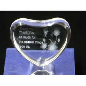Heart Shaped Clear Glass Crystal Paperweight 3D Laser Engraved Thank