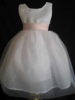 IVORY PINK SATIN BOW FLOWER GIRL DRESS 6, 9, 12 18 MO FREE SHIP