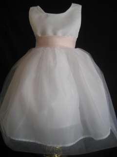 IVORY PINK SATIN BOW FLOWER GIRL DRESS 6, 9, 12 18 MO FREE SHIP