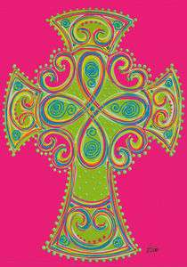 0665FL   Large Flag   Celtic Cross   Religious   Vibrant colors
