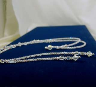 CLEAR AB SWAROVSKI CRYSTALS LARIAT NECKLACE with handmade beaded Loop