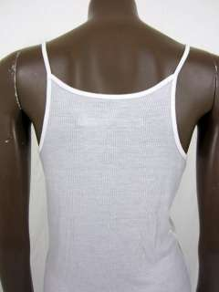 Enza Costa womens white ribbed long camisole tank top L $111