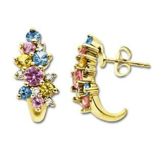Yellow, Blue and Pink Sapphire Earrings in 14K Gold with