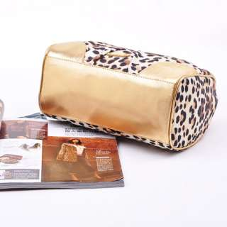 New Fashion Ladies Leopard Print Gold Shoulder Evening Party Bag Purse