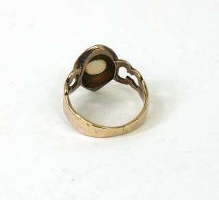 ANTIQUE VICTORIAN 14K GOLD, OPAL & RUBIES BAND RING