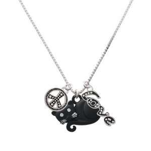 Curled Up Matte Black Cat, Peace, Love Charm Necklace