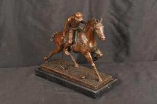 Bronze Polo Player Horse Jockey English Signed Milo