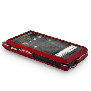 FOR VERIZON MOTOROLA DROID A855 RUBBER RED HARD CASE+LCD FILM GUARD