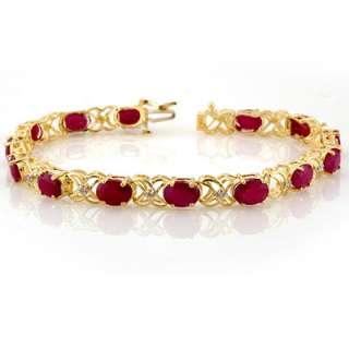 Genuine 16.05 ctw Ruby & Diamond Bracelet Yellow Gold