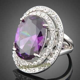 white gold GP Swarovski crystal & amethyst big finger ring 1775