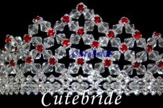 Red Crystals Wedding Bridal Praty Tiara Crown 8007B