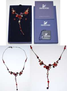 Authentic Swarovski Crystal Red Gisele Necklace Earrings Set