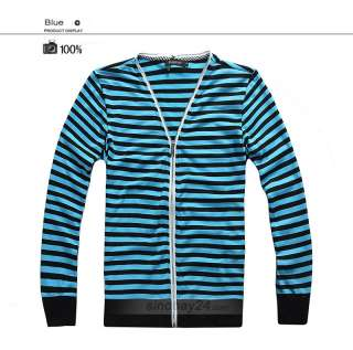 C51026 Mens Casual Sweater Stripe Zip Knit Slim Fit Blend V Neck 5