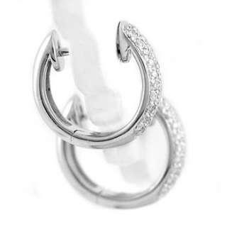 FINE VS PAVE SET DIAMOND HUGGIE HOOP EARRINGS 14K WHITE GOLD