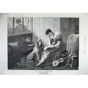 1886 Edith Berkley Fine Art Woman Dog Music Letter