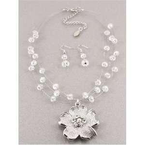 Desinger Inspired Silver Beads Flower Necklace and Earrings Set
