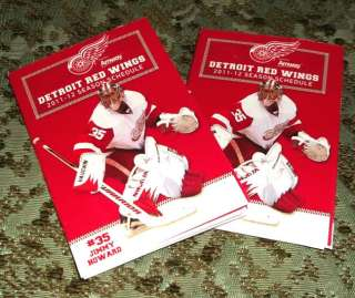 Two (2) 2011 12 Detroit Red Wings Season Schedules featuring Jimmy