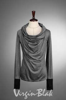 vb HOMME Oversized Draped Cowl Neck Sweater BLACK, GRAY Indie Designer