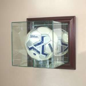 Soccer Ball Display Case with Cherry Wood Molding