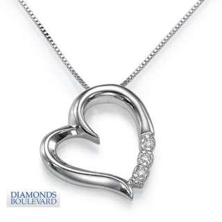 Stone Diamond Heart Pendant set in 14k White Gold