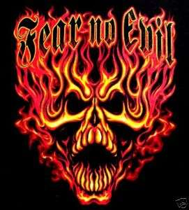 FEAR NO EVIL FLAMING SKULL FIRE BIKER PUNK T SHIRT WS3
