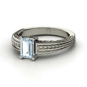 Emerald Cut Ceres Ring, Emerald Cut Aquamarine 14K White