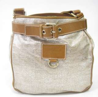 MARC JACOBS Metallic Canvas Brown Leather Tote Handbag