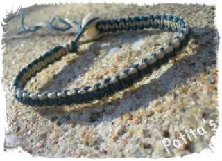 Handmade Two Color Blue and Natural Macrame Hemp Surfer Skate Bracelet
