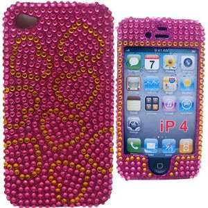 iPhone 4 Rhinestone Diamond PINK GOLD HEARTS Hard Shell