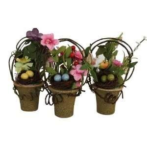 Spring Silk Flower and Vine Baskets Arrangement with Bird Nest