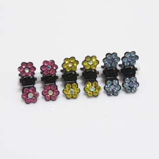 Cute Mini Hair clip claw Crystal Flower Rhinestone 6 set Mix Girl