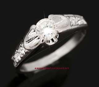 18k White Gold GP use Swarovski Crystal Ring S9 _ 9 R29