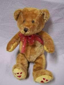 Plush Bear Hearts On Feet Red Ribbon Hearts 13