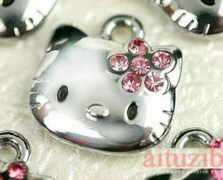 DIY wholesale 10pc pink hello kitty pendant metal charms eH2 Best Gift