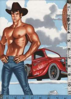 Fabric Henry WRANGLERS Cowboy Hunks Pinups sexy Trucks