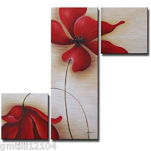 Red Flowers Oil Wall Art Elegant Modern Decor 3 Piece