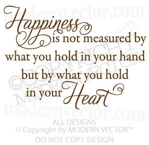 INSPIRATIONAL Quote Vinyl Wall Decal HAPPINESS HEART