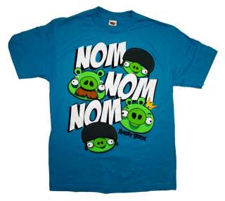 Angry Birds Rovio Mobile Pigs Nom Nom Nom Funny Video Game T Shirt Tee