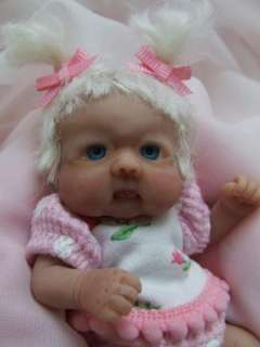 OOAK Sculpted Baby Girl Leprechaun Fairy Elf Polymer Clay Art Doll